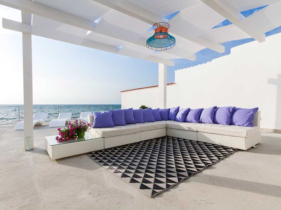 Outdoor furniture on the terrace of Villa Capone